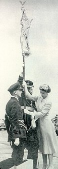 Her Majesty presents the Standard. The Bearer was F/O RC Haven.  Click on this image for the Presentation Drill that day.